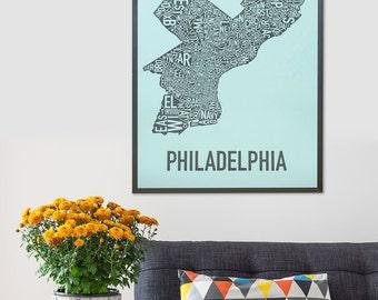 Original Philadelphia Typographic Neighborhood Map