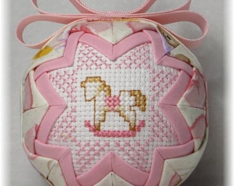 Baby's First Christmas Ornament - Baby Girl - Rocking Horse