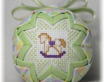 Baby's First Christmas Ornament - Rocking Horse Theme - Pastel