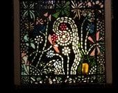Mosaic flower garden vintage window, Stained Glass Garden, Glass Gem Suncatcher, Vintage Bottle Art, Victorain Window, Home Garden Decor