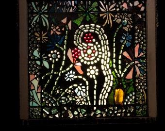 Mosaic flower garden vintage window