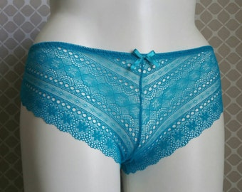 TEAL Lace Up Sheer Lace Tanga with I Do in Crystals - Future Mrs. - Plus Size - Custom Bride Underwear
