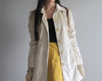 Summer Coat , Trench Coat SISLEY XS\S , White Womens Coat, Trimmed Trench, Italian Fashion, Made in Italy Benetton