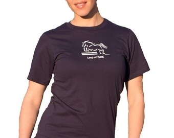 "Jumper Horse Tee Shirt, ""Leap of Faith"" Artist Sandra Beaulieu, Organic Cotton, Eventing, Show Jumper, Discontinued, SALE-Save 50%"