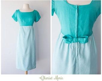 CLEARANCE SALE - 1960's Vintage Two Tone Dress - Teal Vintage Linen Dress with Bow - Aqua Vintage Empire Waist Dress - Size Medium