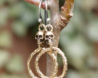Skull hoop dangle earrings - minimalist boho chic, choose sterling silver or bronze, artisan jewelry, Gift for her