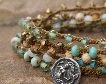 Mermaid crochet wrap bracelet necklace - beachy rustic summer boho chic, semi precious jewelry