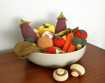 Crochet Vegetables / Crochet Fruit / Crocheted Fruit / Crocheted Vegetables / Crochet Food Seasonal Table Centre - 6 Pieces