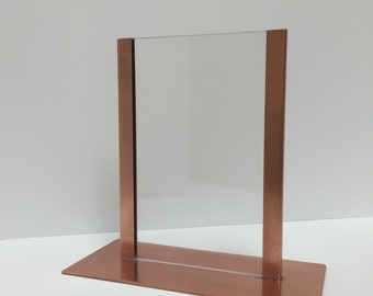 Raw Copper 5x7 Picture Menu Stand Frame Acrylic Glass