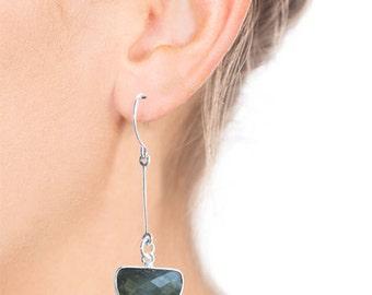 Drop earrings labradorite and sterling silver dangle earrings