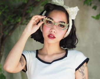 Vintage Eyeglass Catseye 1960's Crazy design. Made in France Cat eye Frames hand made