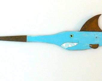 MARLIN Brando # 7 - Reclaimed wood fish, found object art, folk art, blue fish, bill fish art, wall art