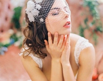 Birdcage Veil with Silk Flowers, Unique Bandeau Veil with Handmade Organza Flowers and Pearls #700V