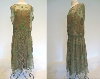 Enchanting Sage Green Beautifully Hand Embroidered Net & Fillet Lace over Gold Lamé Under Dress