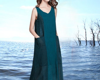 linen tunic dress in green, linen shift dress, linen shirt dress, linen sundress, day dress, long linen dress, boho dress, green dress