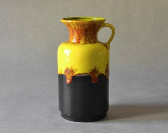 Vintage vase Jasba West German pottery yellow handled WGP Mid Century Modern