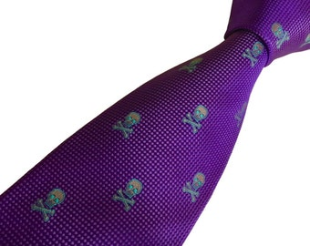 Purple Skull & Crossbones Necktie - Pure Silk Tie - Natte Check - Handmade in England