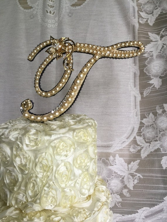 pearl brooch for wedding cake items similar to custom pearl monogram cake topper with 18163
