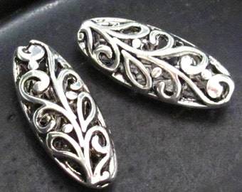 Beautiful Long Oval Scroll Detail Pewter Spacer Beads - Set of 8
