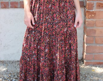 SALE!  Long Boho Floral Skirt, Boho Skirt, Women's Long Boho Skirt