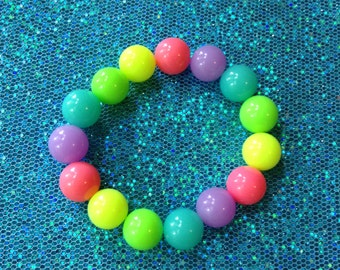 Chunky Neon Rainbow Bead Stretch Bracelet