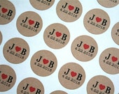 """Personalized wedding stickers, custom favor labels.  2"""" round stickers, set of 20.  Matte white or Kraft brown. Custom initials with heart."""