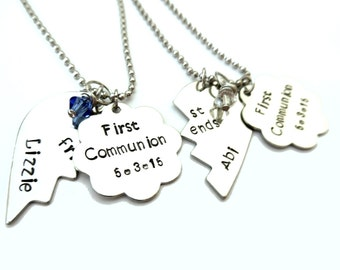 Hand Stamped Jewelry, Best Friends Necklace, w/ Flower Tags, Handstamped Jewelry, 2 Necklaces, Little Girls Necklace, Special Occasion