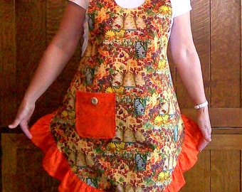 Cats in the Garden Orange Ruffled Womans Full Apron-Scoop Neck Style Apron - One Size