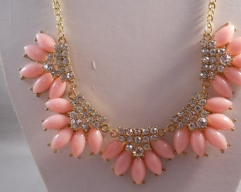 SALE Gold and Pink Pendant Necklace with Clear Rhinestones on a Gold Tone chain