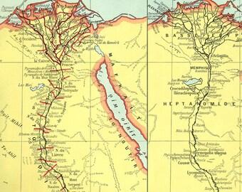 Ancient Egypt Map Vintage Egypt Map Ancient Egypt - Vintage map of egypt