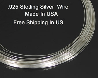 18 Ga Sterling Silver Round Wire (Half Hard)  .925 Sterling Silver Made In USA