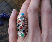 Gemstone Stackable Rings. You Choose Gemstone. Skinny Stacker. Made to Order in Your Size. Sizes 4.5 - 11 in Whole and Half.