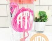 NEW! Monogrammed Painted Flamingo Tervis Tumbler - NOT VINYL