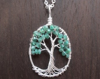 Emerald Mini Wire Tree of Life Necklace in Green Onyx, Peace, Alleviate Fears and Worries, Stress Reliever, Emerald