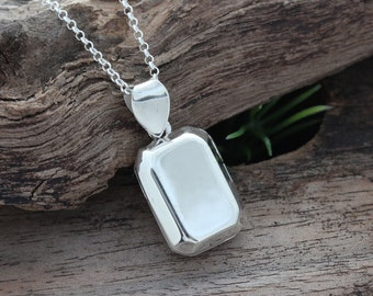 silver locket necklace . rectangular Locket Genuine 925  Sterling Silver Photo locket . lockets By Mony-Art 29s
