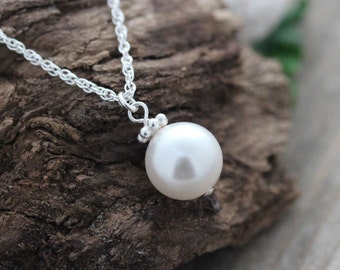 Elegant Pearl Necklace on Sterling Silver Chain - Single Pearl Necklace, Wedding Necklace, Bridesmaid Necklace, Bridal Necklace