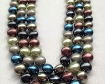 Shell pearls - rounded coin - 12mm - 12 beads
