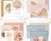 SALE Birth Announcement Templates, Birth Announcement Template Boy, Birth Announcement Template Girl, Photography Templates Photoshop - BA77