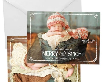 Christmas Card Template for Photographers, Christmas Card Templates for Photoshop, Holiday Card Templates, Photography Templates - HC246