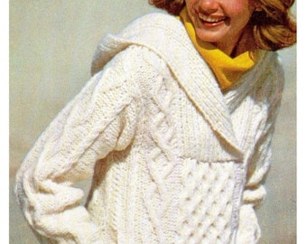 """Vintage 70's Knit """"HOODED"""" Sweater, PDF Pattern, ARAN Knit Pattern, Digital Pattern"""
