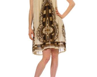 1970s Vintage Mamta Off White Ethnic Print Halter Dress  Size: L/XL