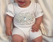 Bubble Romper Baby Girl Romper Set Infant One Piece Set with Rhinestone Applique and Matching Headband