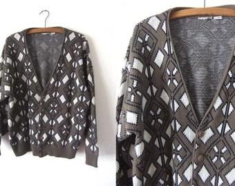 Geometric Print Cardigan Sweater - 90s Ivy League Grandpa Chic Oversize Slouchy fit Woven Sweater - Mens Medium