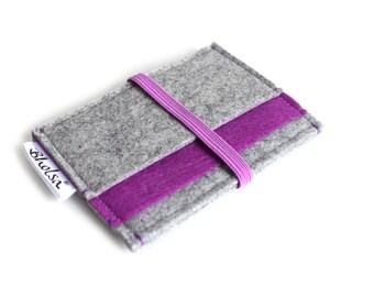 Little Wallet, Card Organizer, Card Wallet, Felt Wallet, Small Wallet, Coin wallet- Light Grey & Munsell Purple