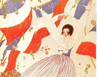 1917 Vogue Vive la France! Cover Vintage 1980 Lepape Art Cultural Traditional French Flag Paris Bastille Day Parisian Frenchy Fashion Decor