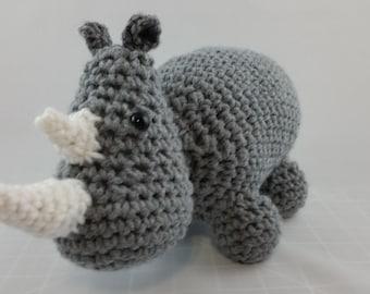 Gray Rhino Stuffed Animal - Crochet - MADE TO ORDER