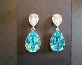 Large Turqouise  Swarovski Crystal Earrings/Blue Crystal Bridesmaid Jewelry/Turquoise Swarovski Earrings/Wedding Jewelry/Bridesmaid Earrings