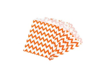 Orange Chevron Paper Treat Bags