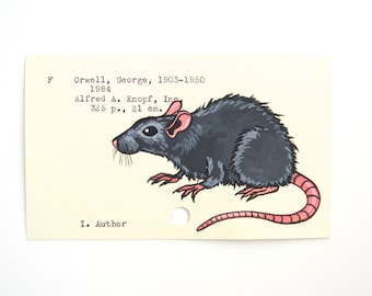 George Orwell 1984 - Print of my painting of a rat on a library card for 1984