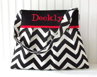 Monogrammed Large Chevron Diaper Bag in Black and Red or Choose Your Own Baby Boy Girl Nappy
